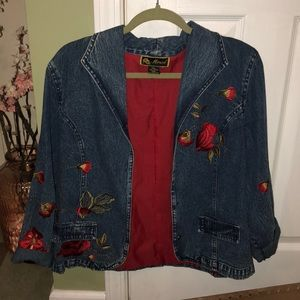Vtg mirasol roses embroidered denim jacket md